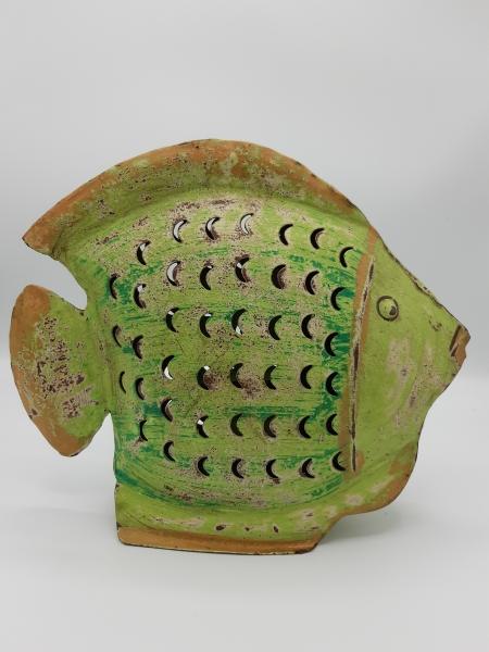 Metall Fisch Windlicht grün
