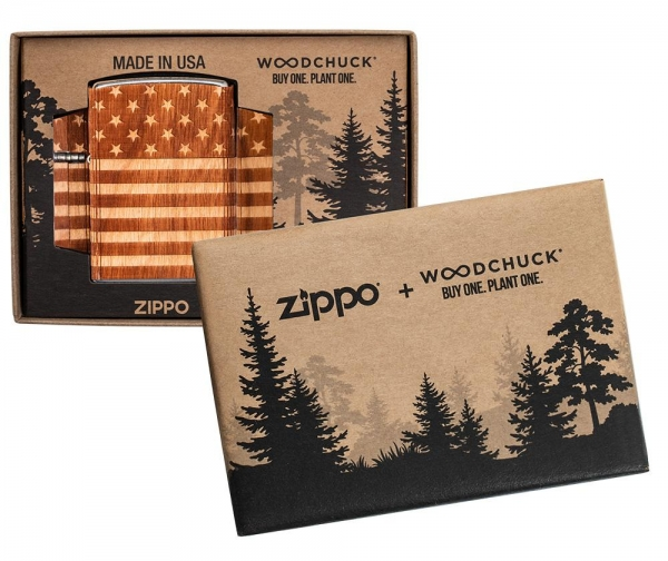 ZIPPO Woodchuck USA American Flag Wrap Neuheit 2021 Benzin Feuerzeug - 60005671