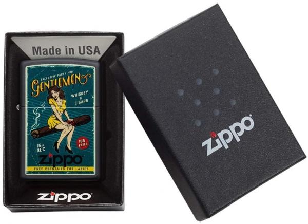 ZIPPO Vintage Pin Up Cigar Girl schwarz matt Feuerzeug - 60005052