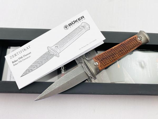 Böker Manufaktur Solingen Luger P08-Damast Dolch Messer Stiefeldolch