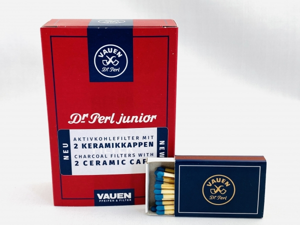 VAUEN Dr. Perl 1x 100 Pfeifen Aktivkohlefilter 9mm - 2 x Keramikkappe + gratis VAUEN Zündhölzer