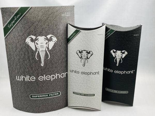 White Elephant Premium Set Pfeifenfilter 'Supermix' 9mm 250 Stück Weltneuheit + Pfeifen Reiniger