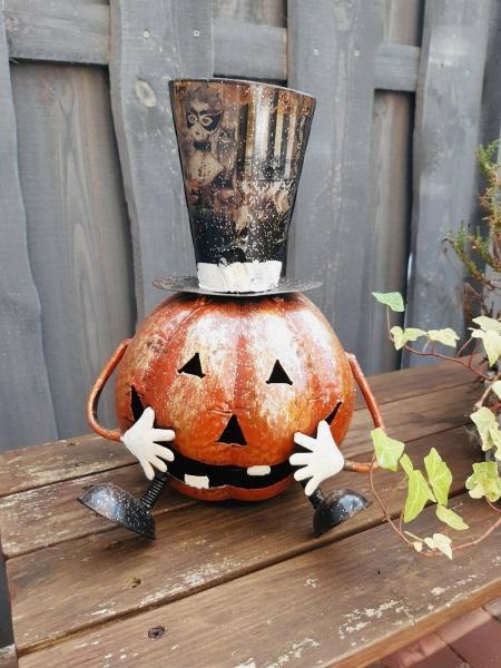 Halloween Kürbis Metall mit Hut Glitzer Windlicht Outdoor/Indoor