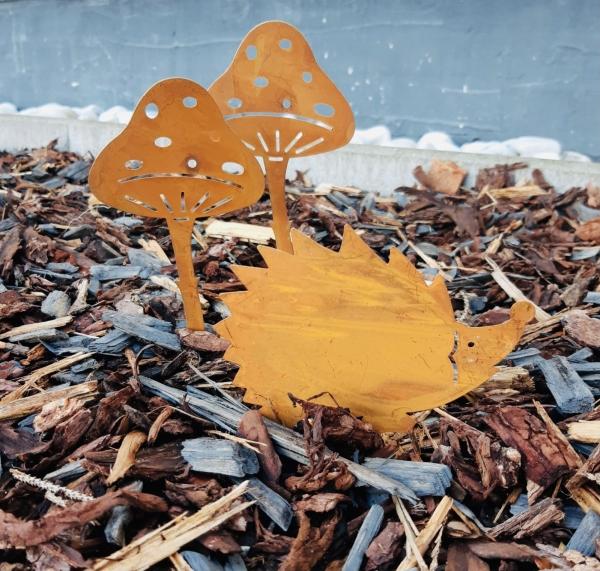 Herbst Deko Set Rost Stecher 2 x Pilz und 1 x Igel Garten Dekoration