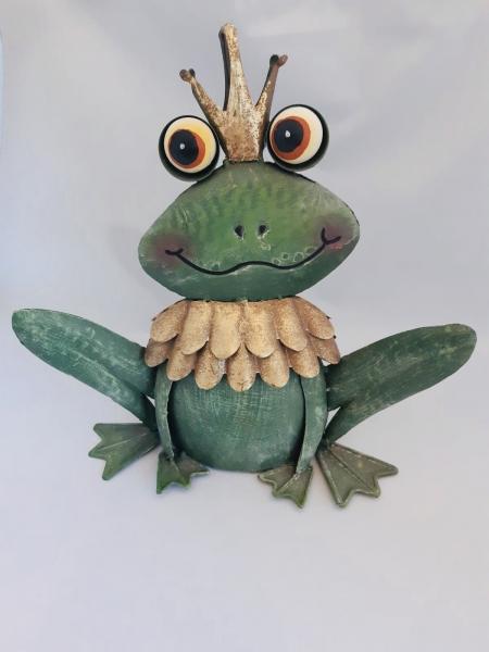 Metall Frosch grün mit Krone