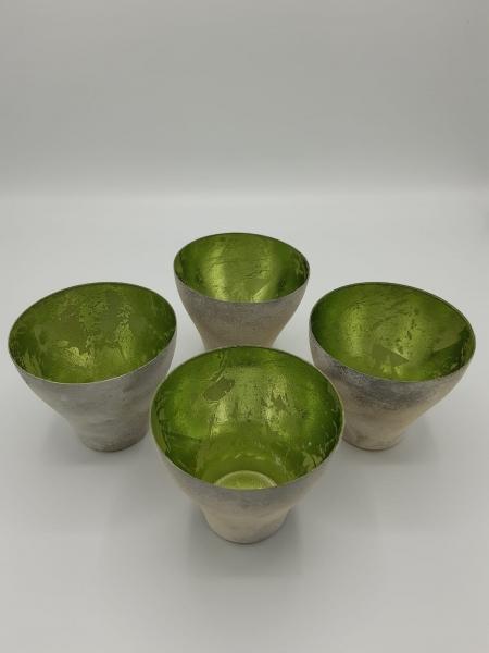 Teelicht Windlicht Metall grau/grün klein