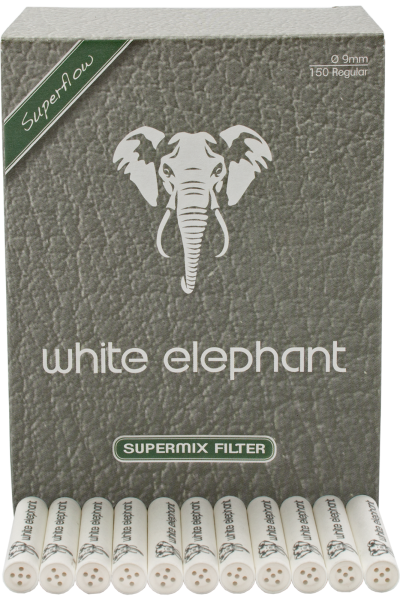 White Elephant Pfeifenfilter 'Supermix' 9mm 150 Stück Weltneuheit
