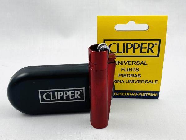 Clipper Metall Teufel rot Feuerzeug edel Design Box + Steine