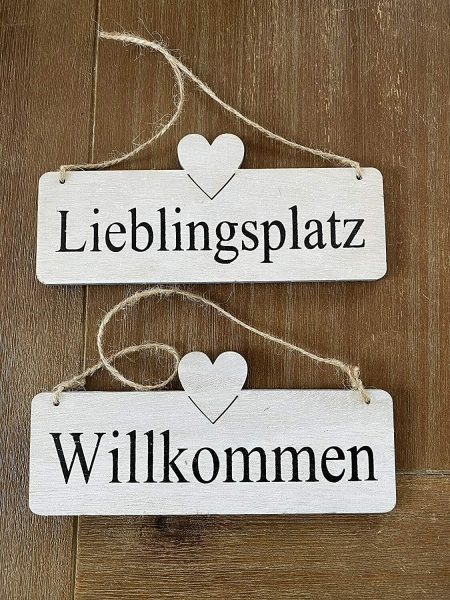 Schild Holz mit Juteband Willkommen/Lieblingsplatz